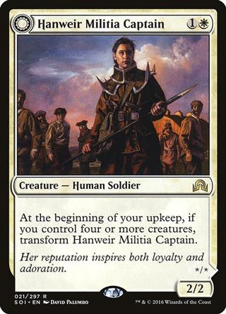 NM|Prerelease|GER Hauptmann der Hennweier-Miliz FOIL Hanweir Militia Captain