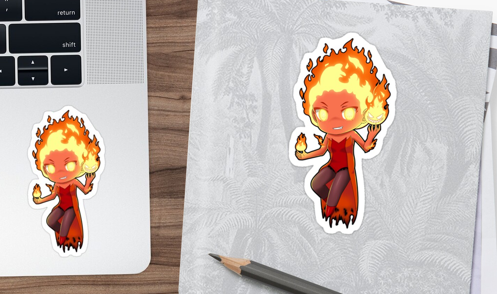 Sticker Chibi Fire Elemental